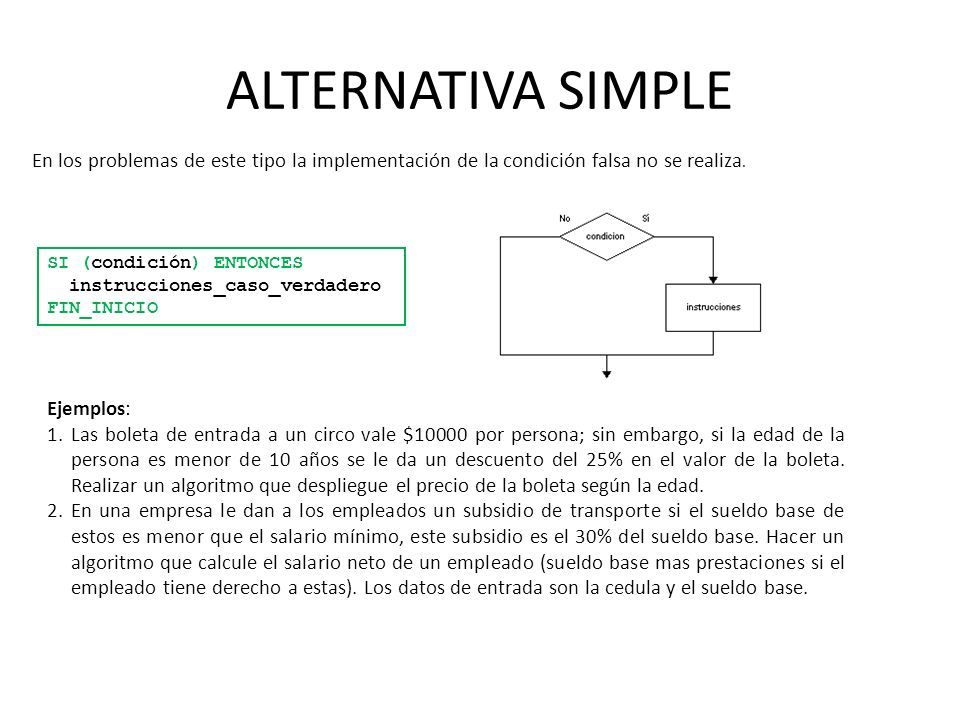 ALTERNATIVA SIMPLE En los problemas de este tipo la implementación de la condición falsa no se realiza.