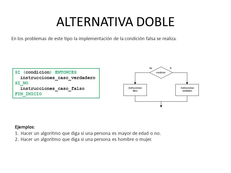 ALTERNATIVA DOBLE En los problemas de este tipo la implementación de la condición falsa se realiza.