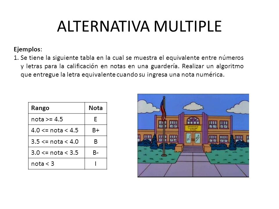 ALTERNATIVA MULTIPLE Ejemplos: