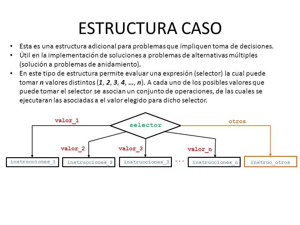 ESTRUCTURA CASO Esta es una estructura adicional para problemas que impliquen toma de decisiones.