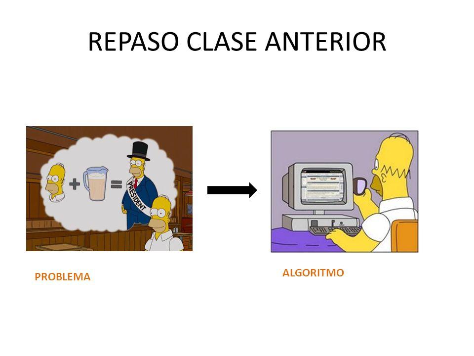 REPASO CLASE ANTERIOR ALGORITMO PROBLEMA