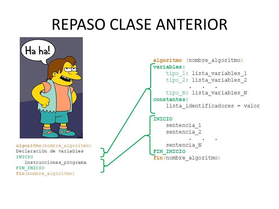 REPASO CLASE ANTERIOR algoritmo (nombre_algoritmo) variables: