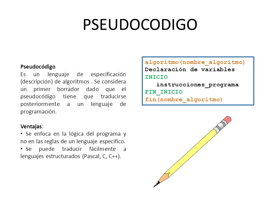 PSEUDOCODIGO algoritmo(nombre_algoritmo) Pseudocódigo