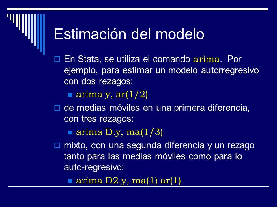 Estimación del modelo En Stata, se utiliza el comando arima. Por ejemplo, para estimar un modelo autorregresivo con dos rezagos:
