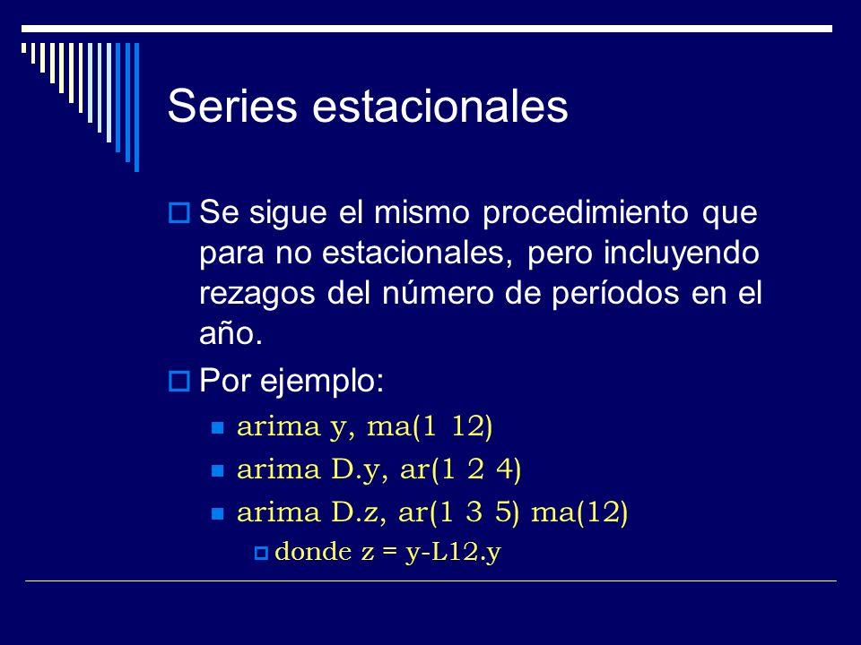 Series estacionales Se sigue el mismo procedimiento que para no estacionales, pero incluyendo rezagos del número de períodos en el año.