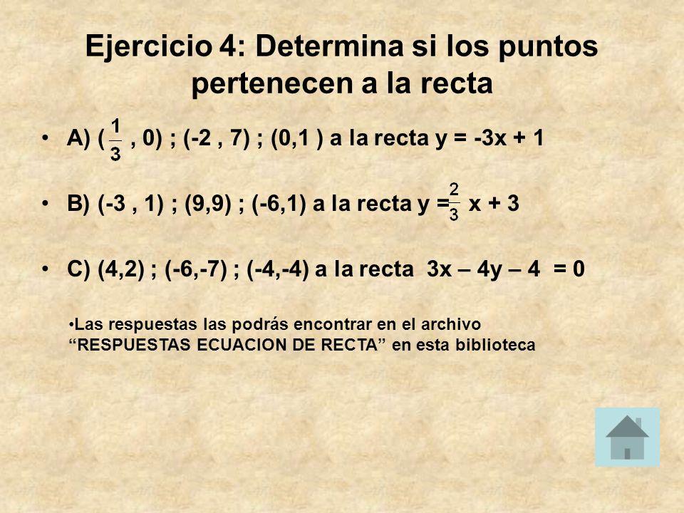 Ejercicio 4: Determina si los puntos pertenecen a la recta