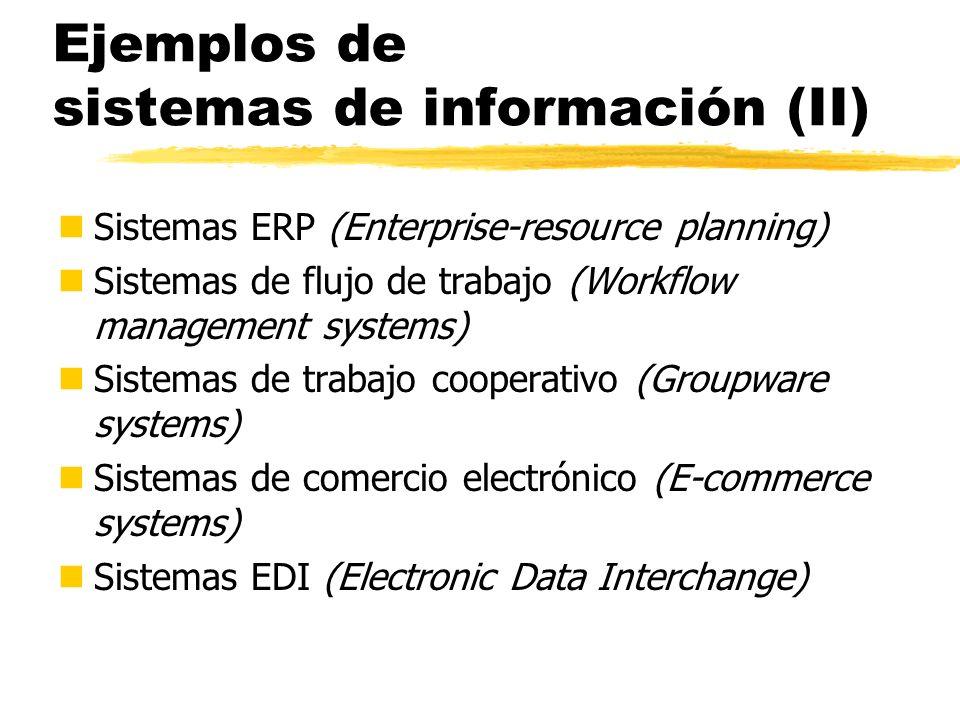 Ejemplos de sistemas de información (II)