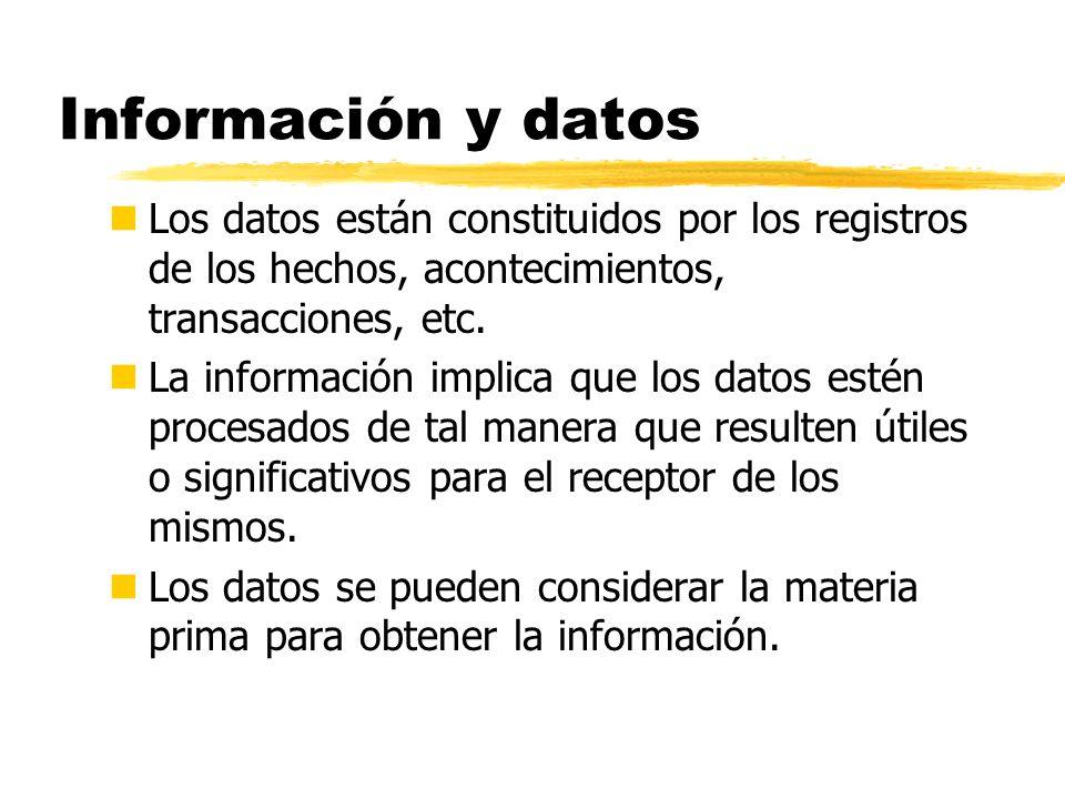 Información y datos Los datos están constituidos por los registros de los hechos, acontecimientos, transacciones, etc.