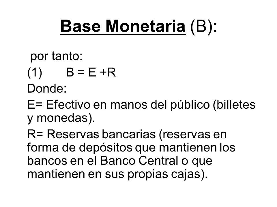 Base Monetaria (B): por tanto: (1) B = E +R Donde: