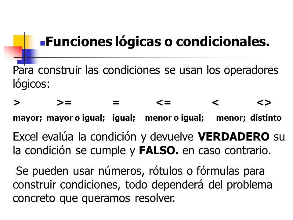 Funciones lógicas o condicionales.