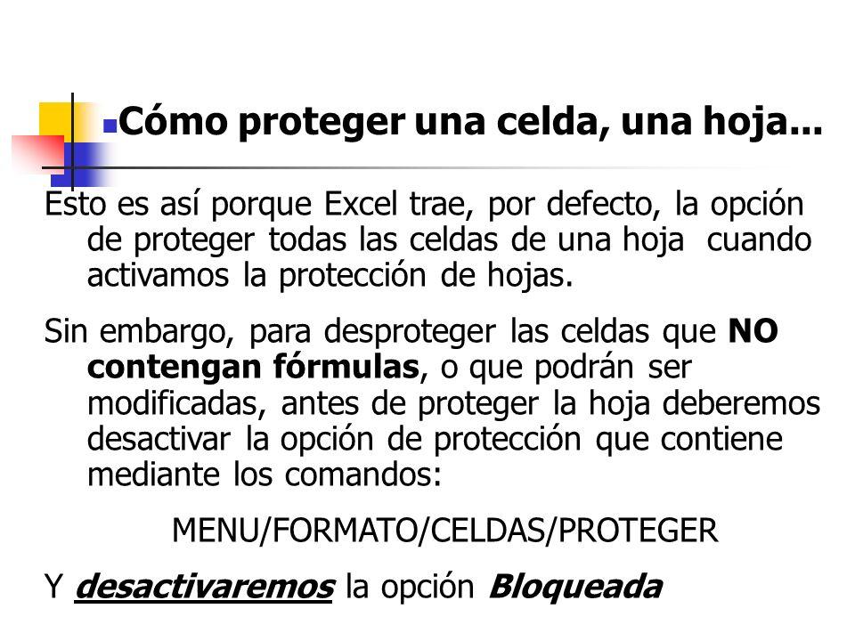 MENU/FORMATO/CELDAS/PROTEGER