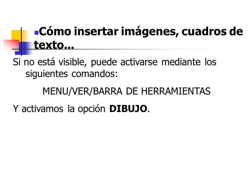 MENU/VER/BARRA DE HERRAMIENTAS
