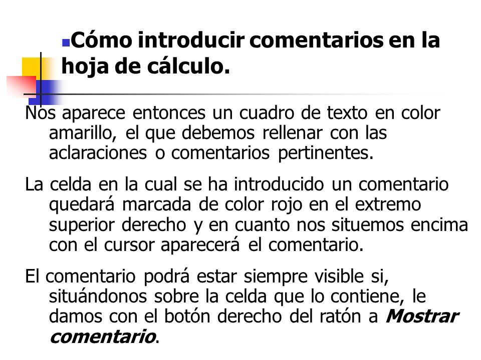Cómo introducir comentarios en la hoja de cálculo.