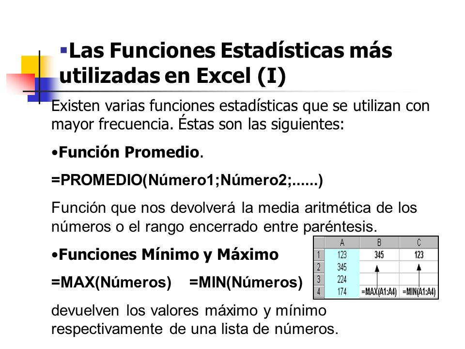 Las Funciones Estadísticas más utilizadas en Excel (I)