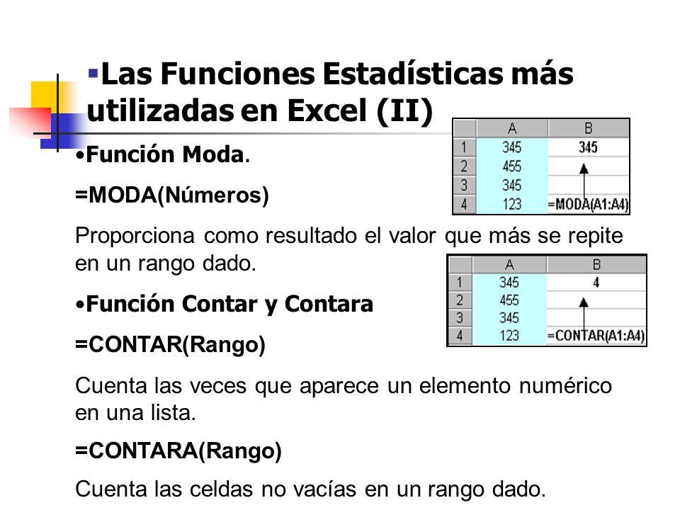 Las Funciones Estadísticas más utilizadas en Excel (II)