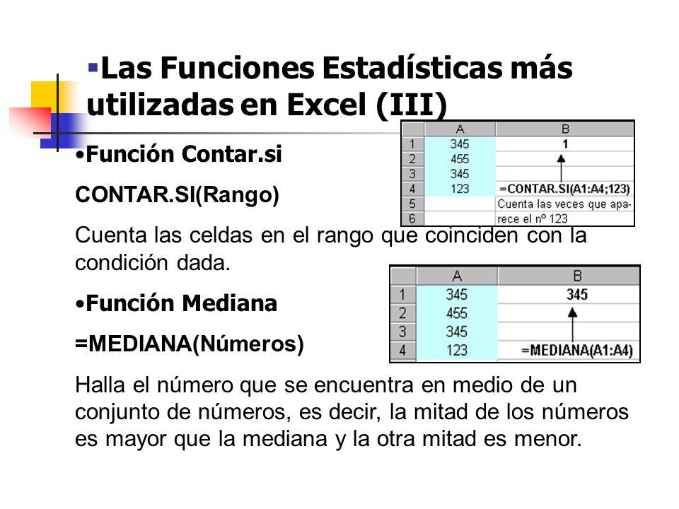 Las Funciones Estadísticas más utilizadas en Excel (III)