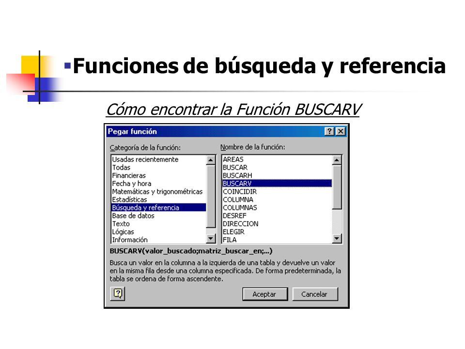 Funciones de búsqueda y referencia