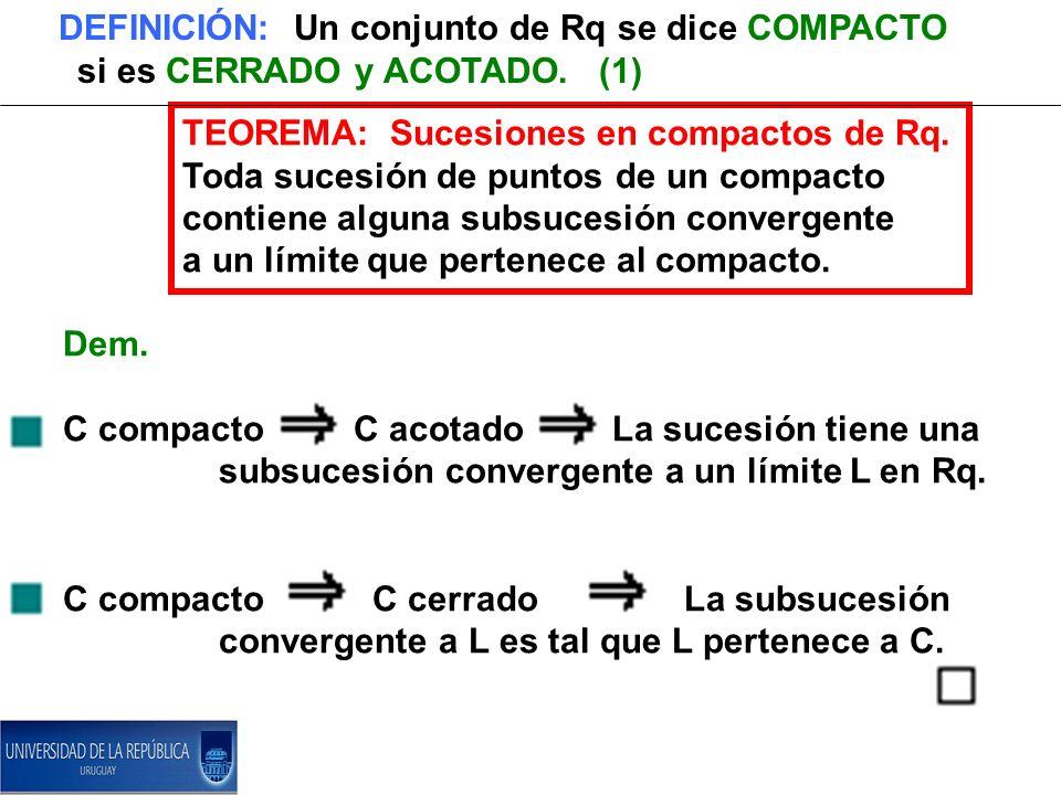 DEFINICIÓN: Un conjunto de Rq se dice COMPACTO