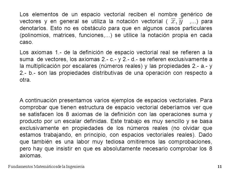 Los elementos de un espacio vectorial reciben el nombre genérico de vectores y en general se utiliza la notación vectorial ( ,...) para denotarlos. Esto no es obstáculo para que en algunos casos particulares (polinomios, matrices, funciones,...) se utilice la notación propia en cada caso.