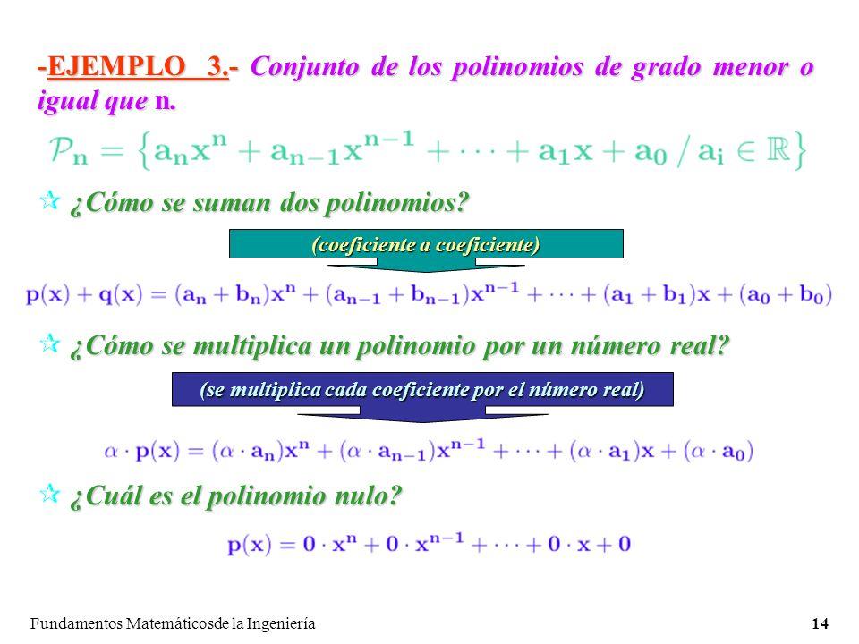 -EJEMPLO 3.- Conjunto de los polinomios de grado menor o igual que n.