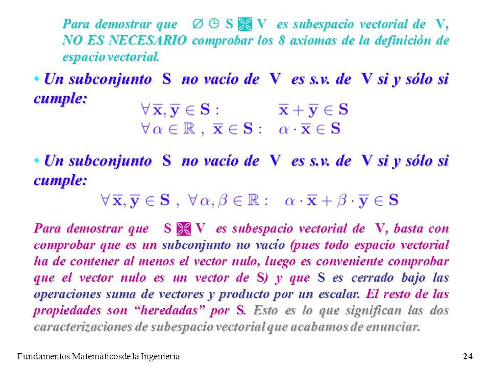 Un subconjunto S no vacío de V es s.v. de V si y sólo si cumple: