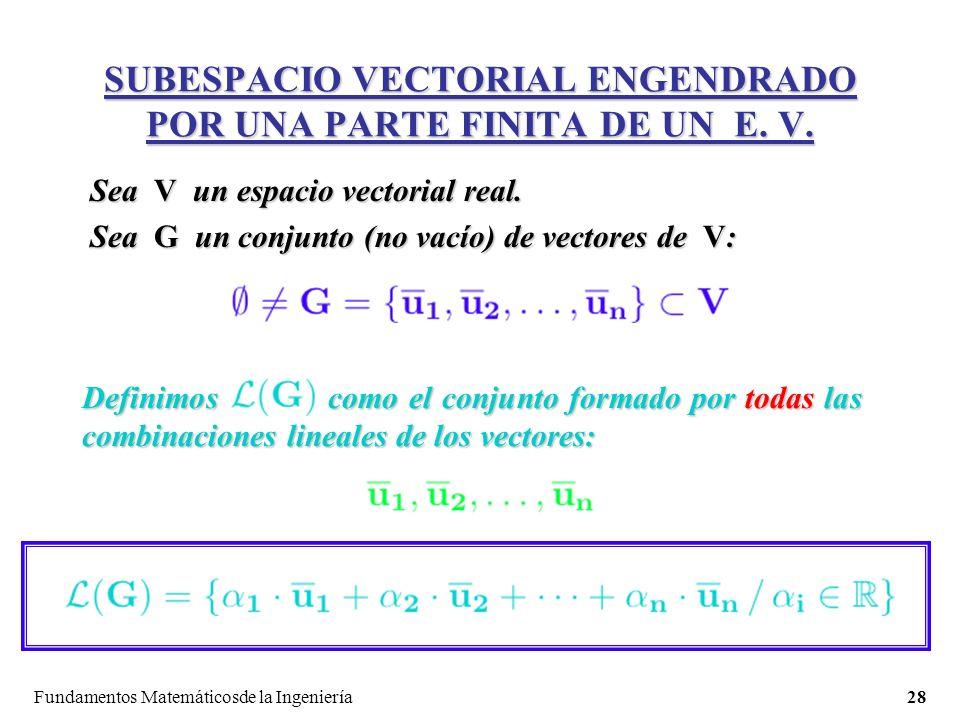 SUBESPACIO VECTORIAL ENGENDRADO POR UNA PARTE FINITA DE UN E. V.