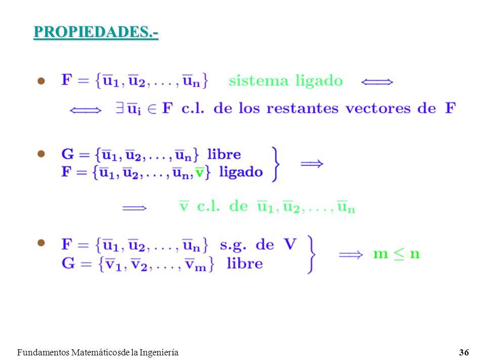 PROPIEDADES.- Fundamentos Matemáticosde la Ingeniería