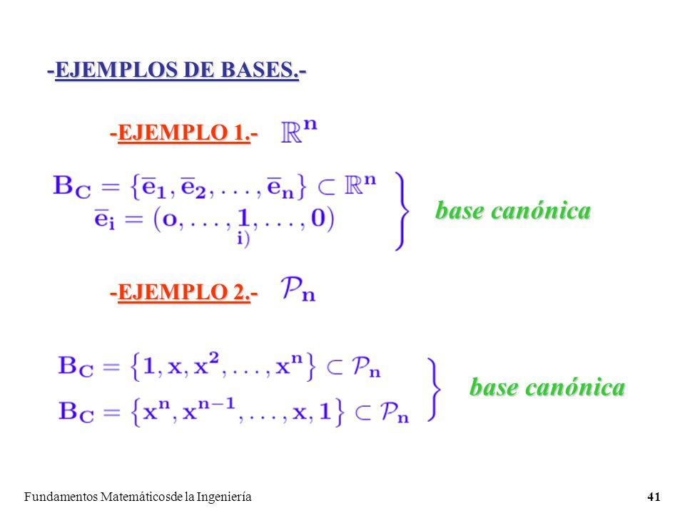base canónica base canónica -EJEMPLOS DE BASES.- -EJEMPLO 1.-