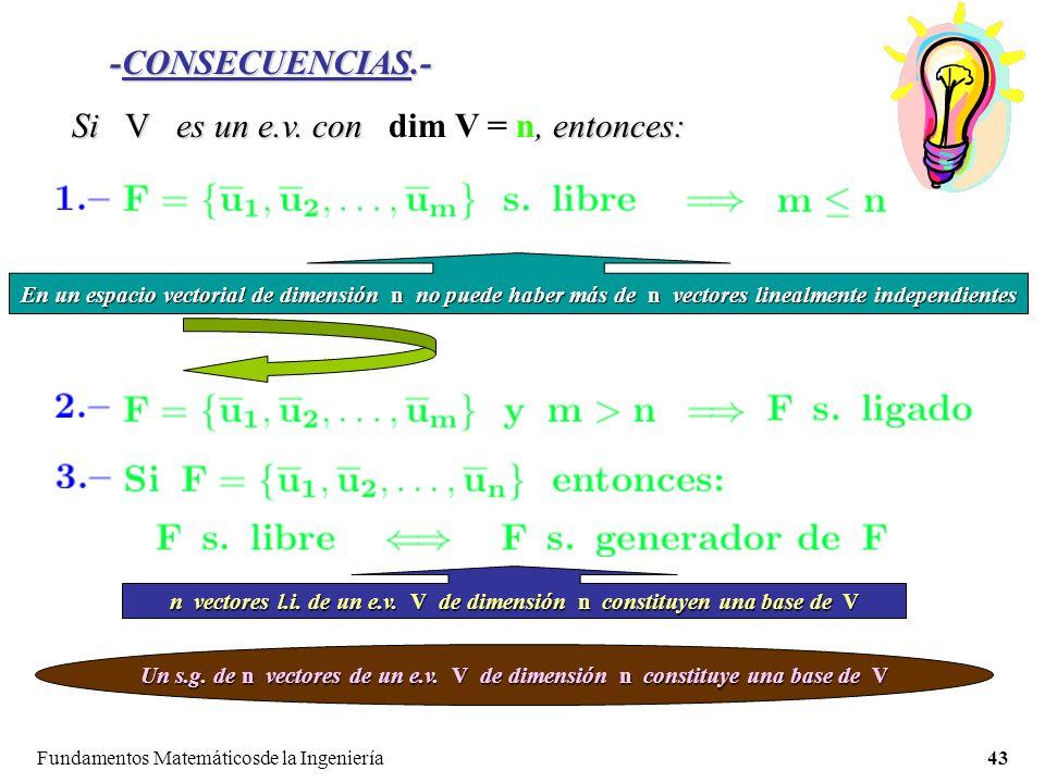 n vectores l.i. de un e.v. V de dimensión n constituyen una base de V