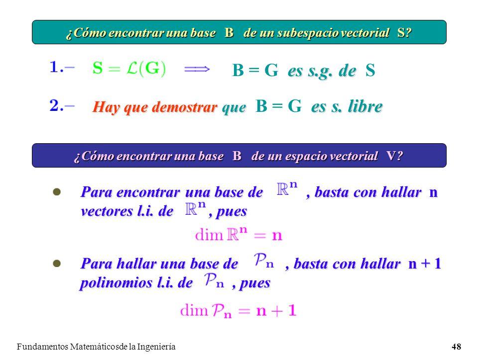 B = G es s.g. de S Hay que demostrar que B = G es s. libre