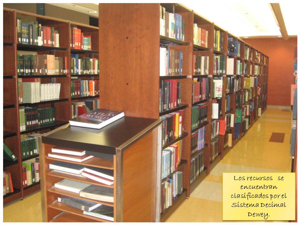 Los recursos se encuentran clasificados por el Sistema Decimal Dewey.