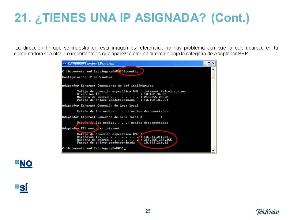 21. ¿TIENES UNA IP ASIGNADA (Cont.)