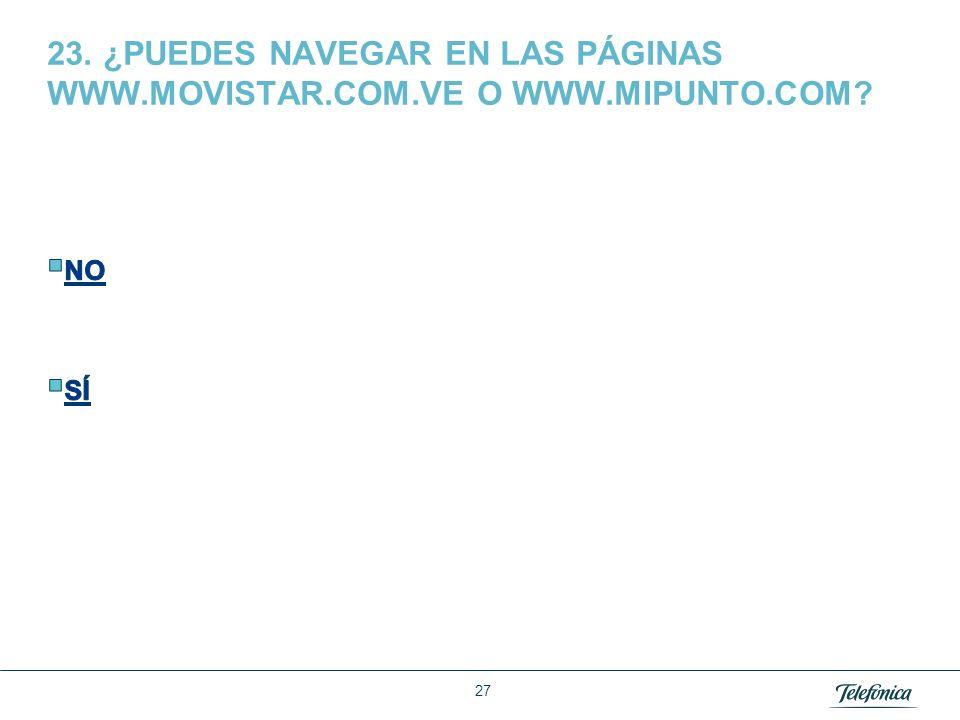 23. ¿PUEDES NAVEGAR EN LAS PÁGINAS WWW. MOVISTAR. COM. VE O WWW