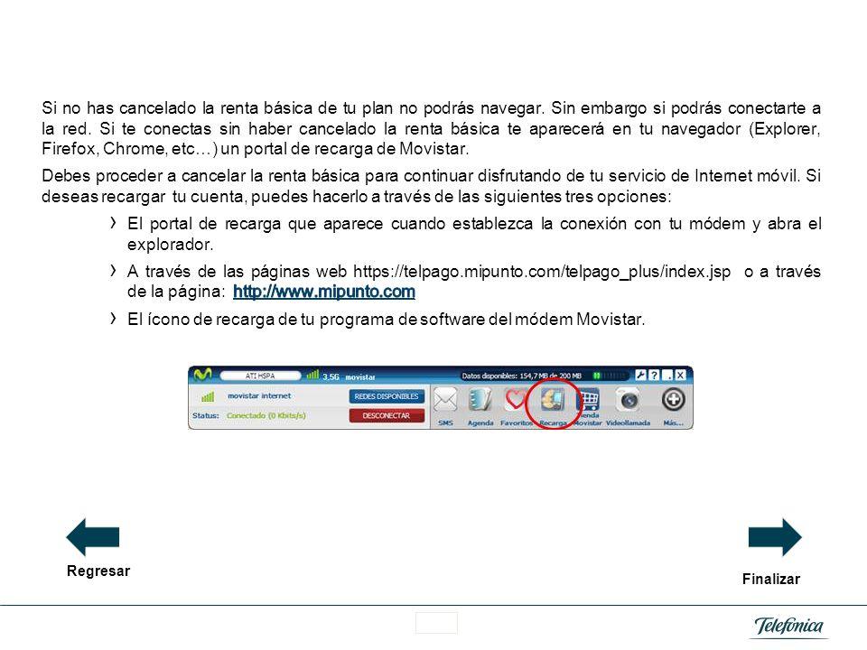 El ícono de recarga de tu programa de software del módem Movistar.