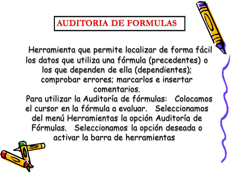 AUDITORIA DE FORMULAS
