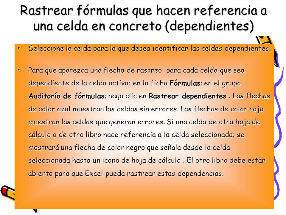 Rastrear fórmulas que hacen referencia a una celda en concreto (dependientes)