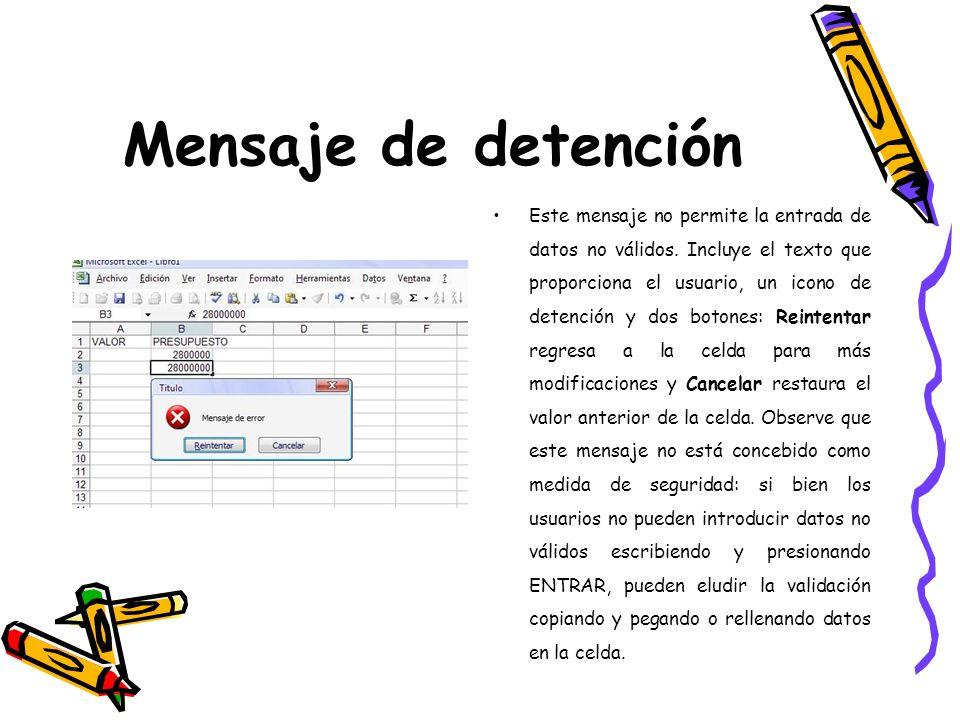 Mensaje de detención