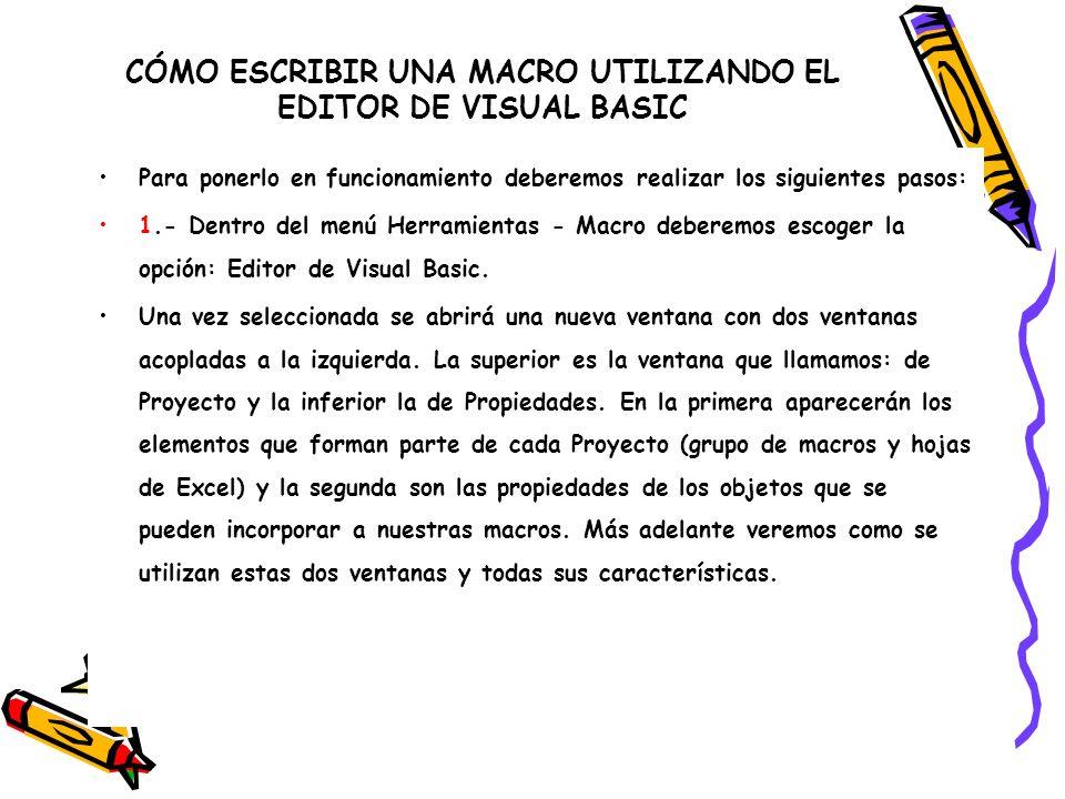 CÓMO ESCRIBIR UNA MACRO UTILIZANDO EL EDITOR DE VISUAL BASIC