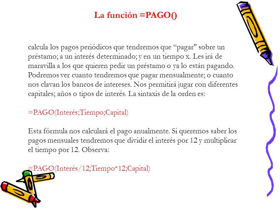 La función =PAGO()