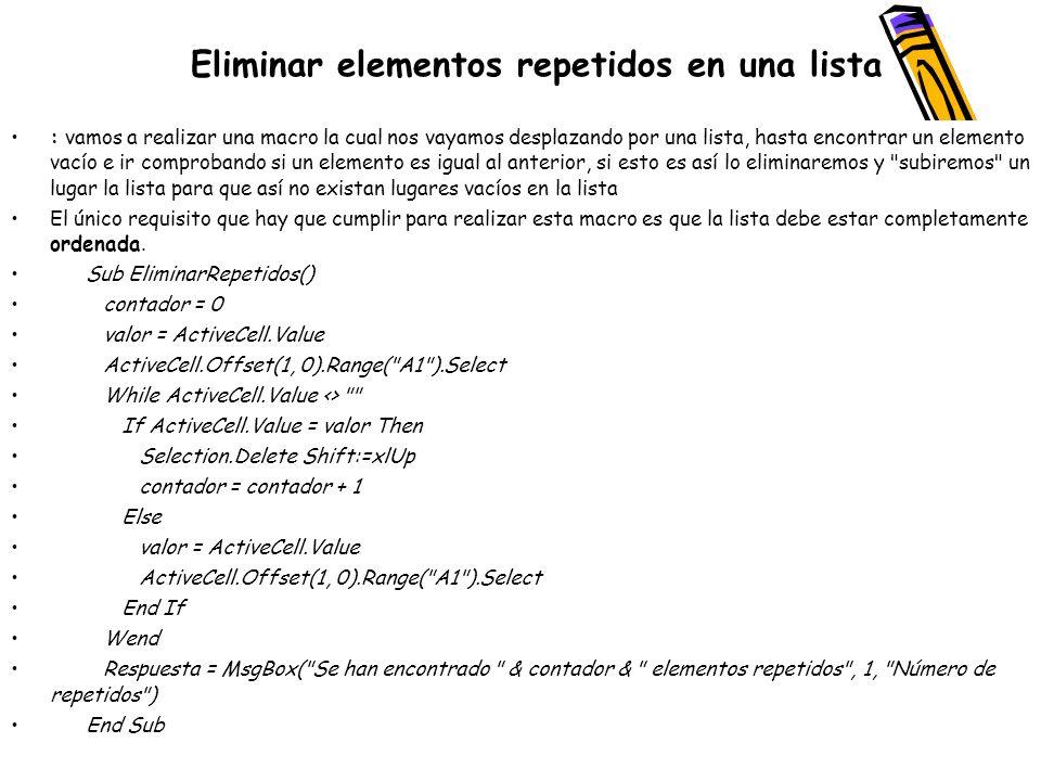 Eliminar elementos repetidos en una lista