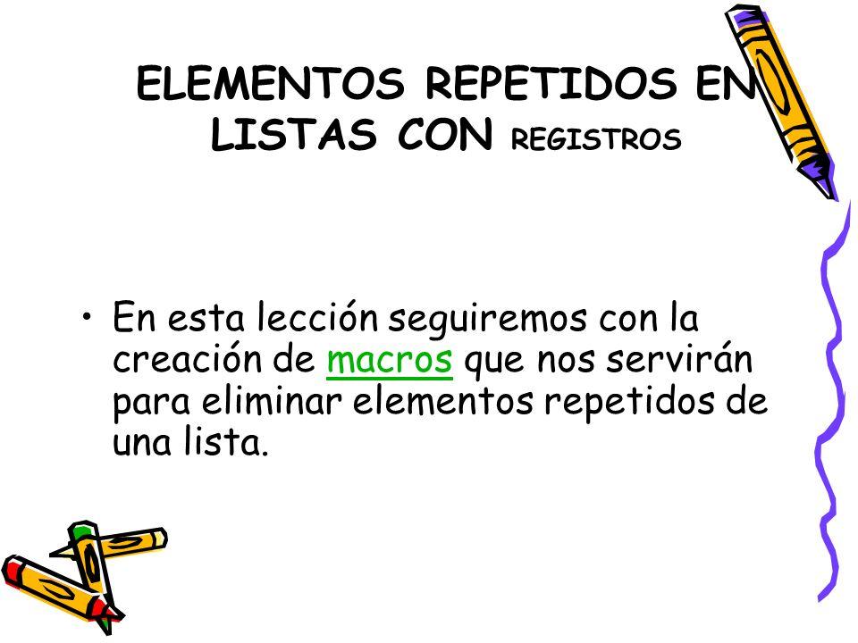 ELEMENTOS REPETIDOS EN LISTAS CON REGISTROS