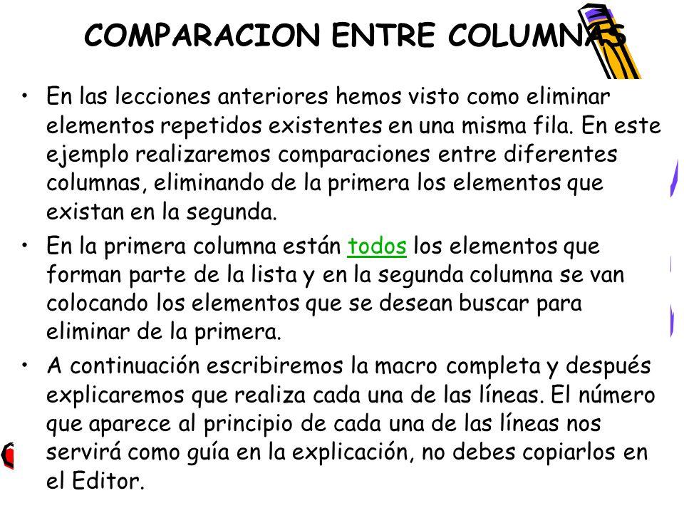 COMPARACION ENTRE COLUMNAS