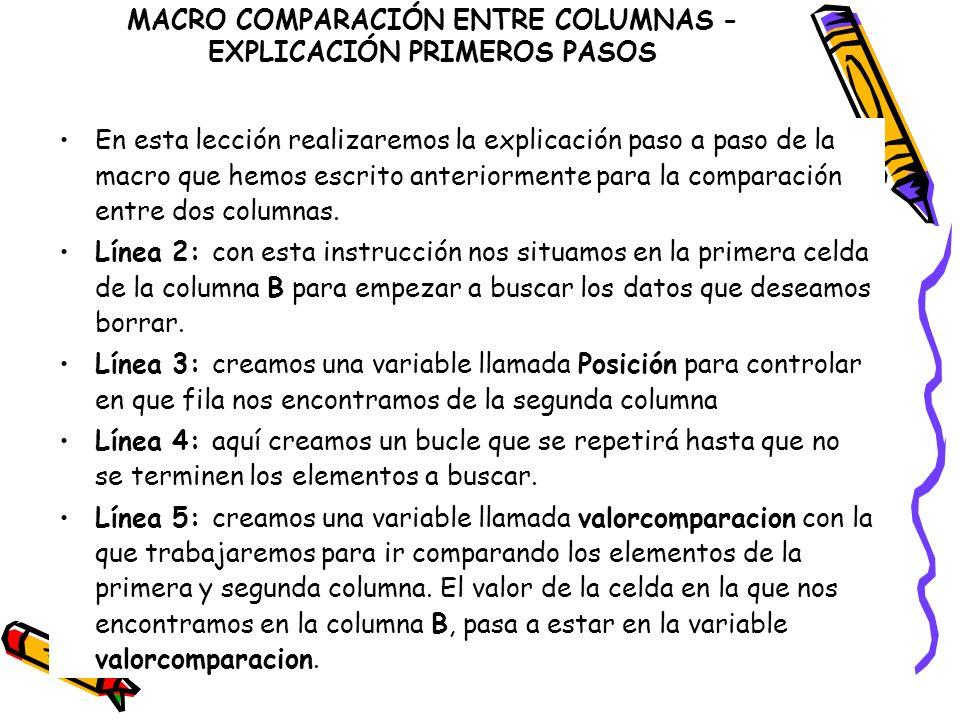 MACRO COMPARACIÓN ENTRE COLUMNAS - EXPLICACIÓN PRIMEROS PASOS