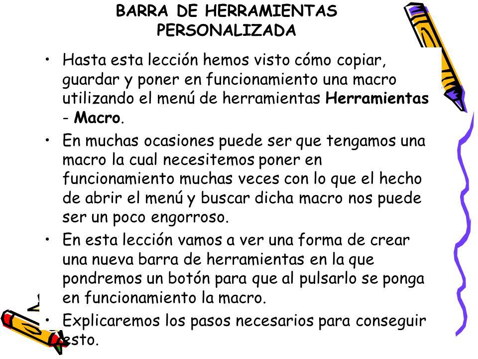 BARRA DE HERRAMIENTAS PERSONALIZADA
