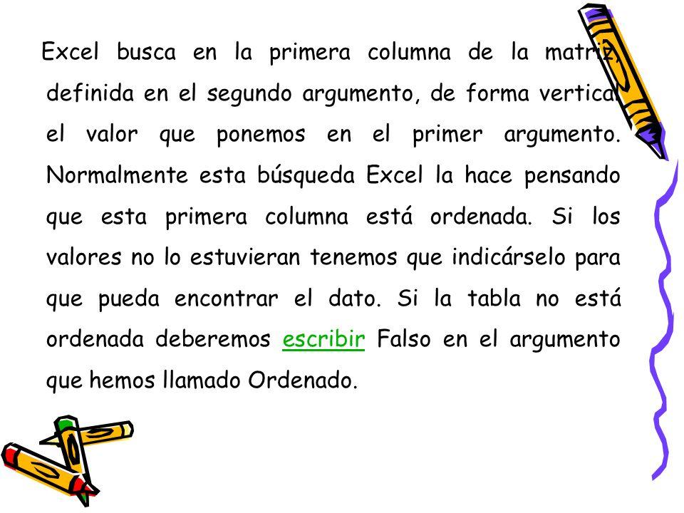 Excel busca en la primera columna de la matriz, definida en el segundo argumento, de forma vertical el valor que ponemos en el primer argumento.