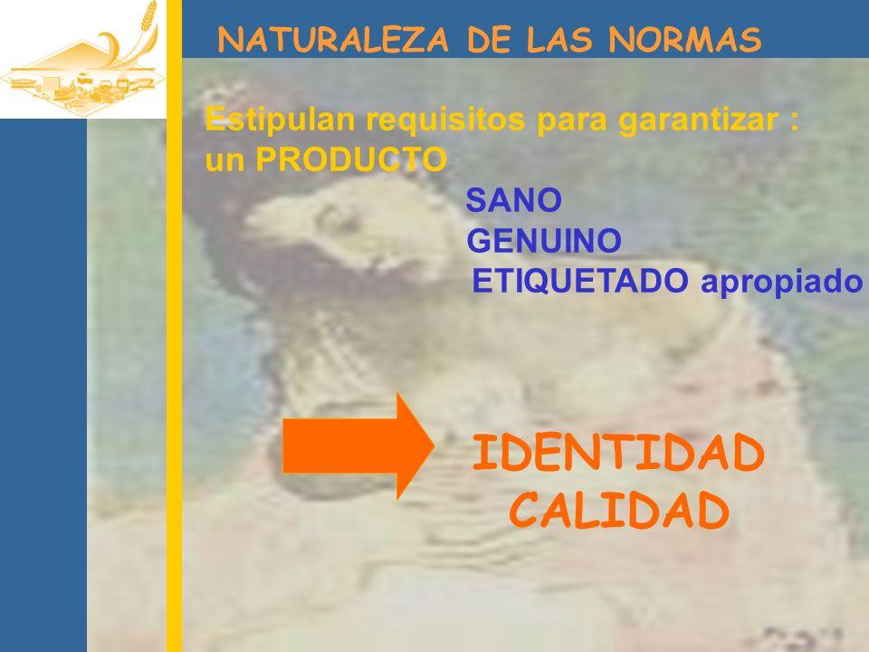 CALIDAD IDENTIDAD NATURALEZA DE LAS NORMAS