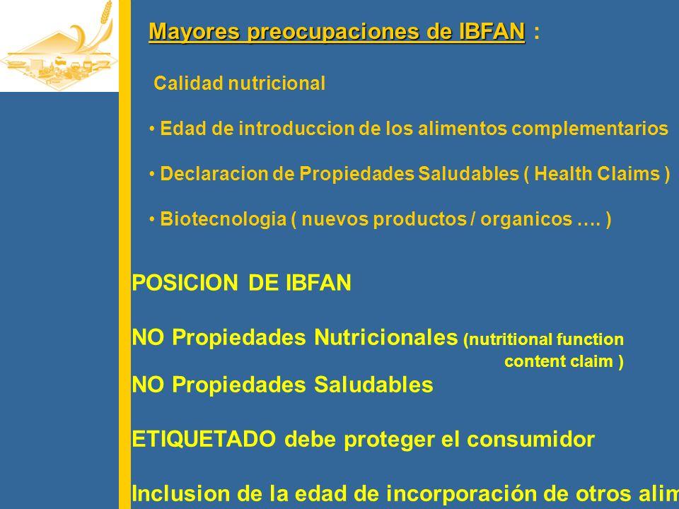 Mayores preocupaciones de IBFAN :