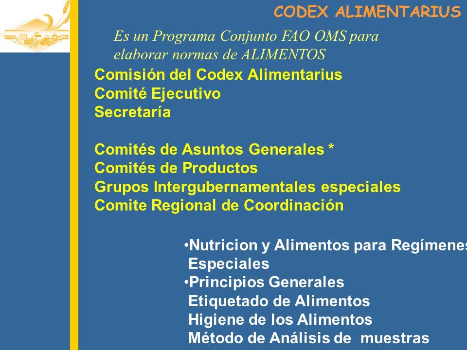 CODEX ALIMENTARIUS Es un Programa Conjunto FAO OMS para. elaborar normas de ALIMENTOS. Comisión del Codex Alimentarius.
