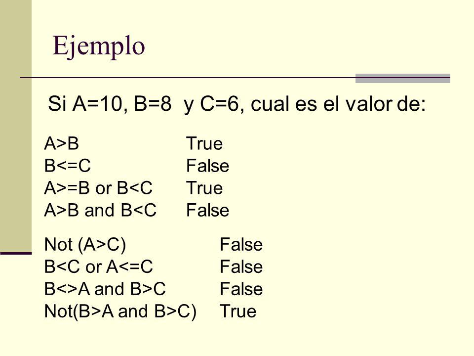 Si A=10, B=8 y C=6, cual es el valor de: