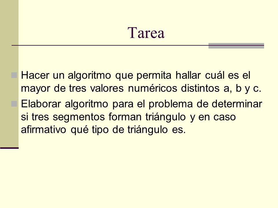 Tarea Hacer un algoritmo que permita hallar cuál es el mayor de tres valores numéricos distintos a, b y c.